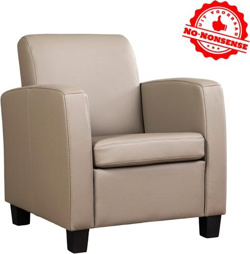 Leren fauteuil Joy - Khaki - Zwarte poot