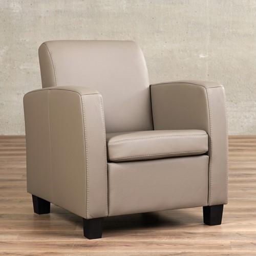 Leren fauteuil Joy - Toledo Leer Khaki - Hout - Zwart