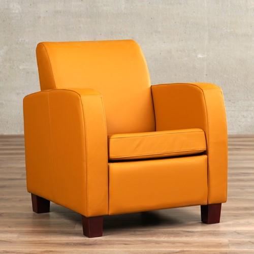 Leren fauteuil Joy - Toledo Leer Leem - Hout - Zwart