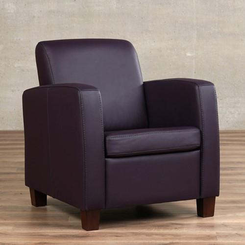 Leren fauteuil Joy - Toledo Leer Merlin - Hout - Zwart
