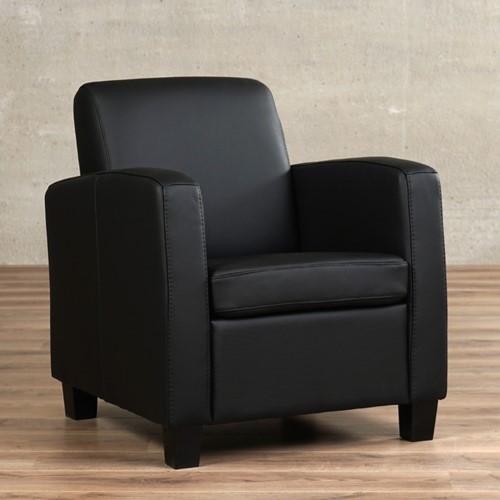 Leren fauteuil Joy - Toledo Leer Nero - Hout - Zwart