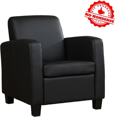 Leren fauteuil Joy - Zwart leer - Zwarte poot