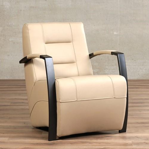 Leren fauteuil Magnificent - Toledo Leer Mastic - Frame antraciet