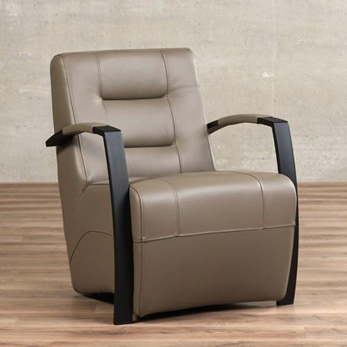 Leren fauteuil Magnificent - Massif Leer Lava - Frame zwart