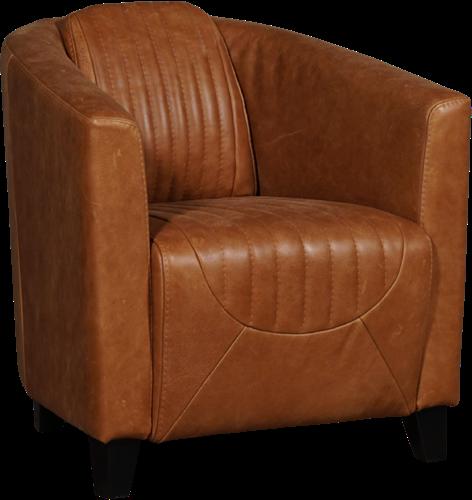 Leren fauteuil Press Special - Vintage Leer Cognac - Poot hout, Zwart