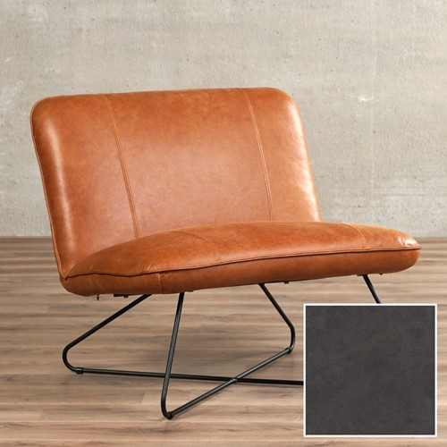 Leren fauteuil zonder armleuning Smile - Vintage Leer Grey