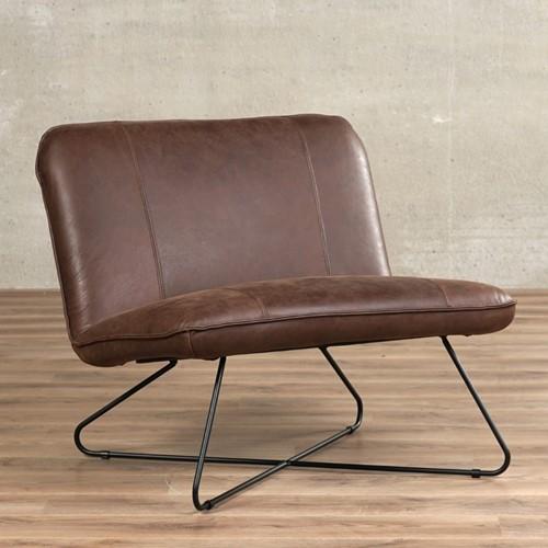 Leren fauteuil zonder armleuning Smile - Vintage Leer Brown