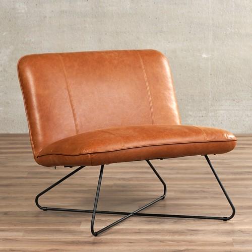 Leren fauteuil zonder armleuning Smile 80 - Vintage Leer Cognac