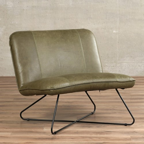 Leren fauteuil zonder armleuning Smile - Vintage Leer Olive