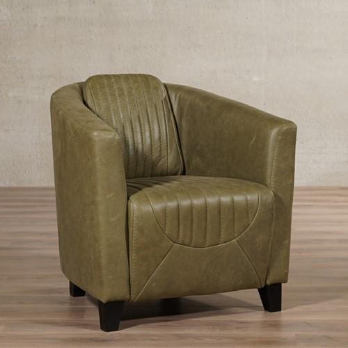 Leren fauteuil Press Special - Vintage Leer Olive - Poot hout, Zwart