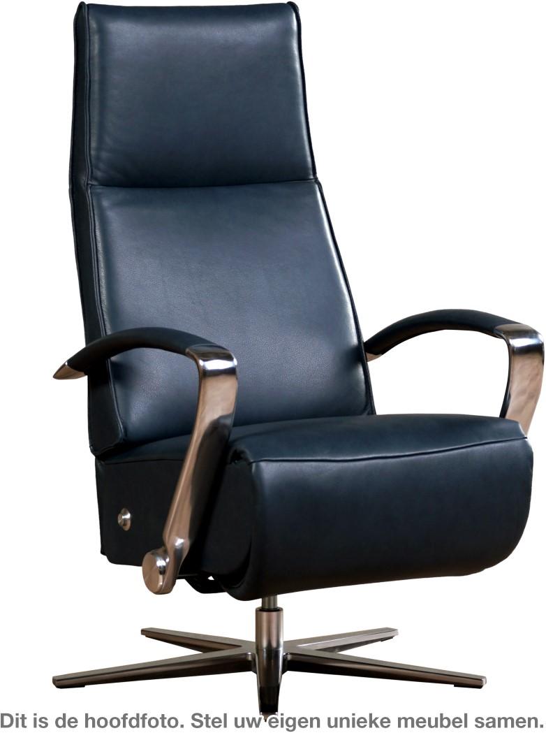 Zwarte Leren Relaxstoel.Leren Relaxfauteuil Idol Met Geintergeerd Voetenbank