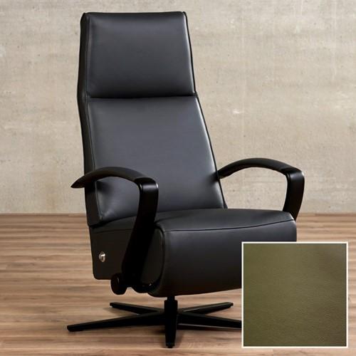 Leren relaxfauteuil Idol - Toledo Leer Olive - Maat, large - Frame mat zwart - Stervoet mat zwart met geintergeerd voetenbank