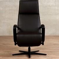 Leren relaxfauteuil Idol - Massif Leer Marron - Large - Frame mat zwart - Stervoet mat zwart met geintergeerd voetenbank-2