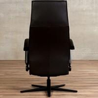 Leren relaxfauteuil Idol - Massif Leer Marron - Large - Frame mat zwart - Stervoet mat zwart met geintergeerd voetenbank-3