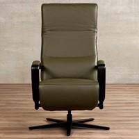 Leren relaxfauteuil Matrix - Massif Leer Olive - Large - Frame mat zwart - Stervoet mat zwart met geintergeerd voetenbank-2