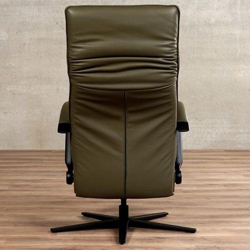 Leren relaxfauteuil Matrix - Massif Leer Olive - Large - Frame mat zwart - Stervoet mat zwart met geintergeerd voetenbank-3
