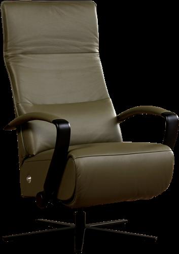 Leren relaxfauteuil Matrix met geintergeerd voetenbank