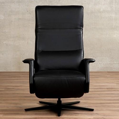 Leren relaxfauteuil Mojo - Massif Leer Nero - Small - Stervoet mat zwart met geintergeerd voetenbank-2