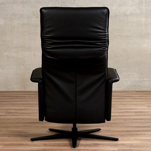 Leren relaxfauteuil Mojo - Massif Leer Nero - Small - Stervoet mat zwart met geintergeerd voetenbank-3