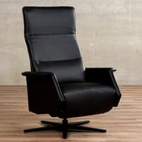 Leren relaxfauteuil Mojo - Massif Leer Nero - Small - Stervoet mat zwart met geintergeerd voetenbank