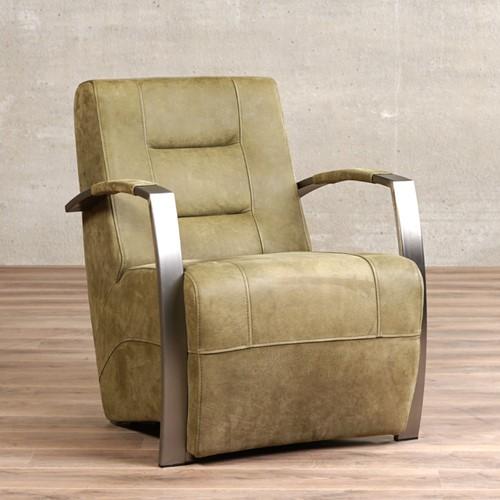 Leren fauteuil Magnificent - Kenia Leer Olive - Frame grijs