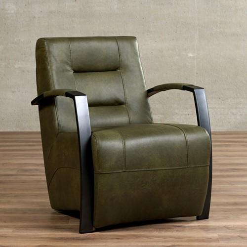 Leren fauteuil Magnificent - Granada leer Moss - Frame zwart