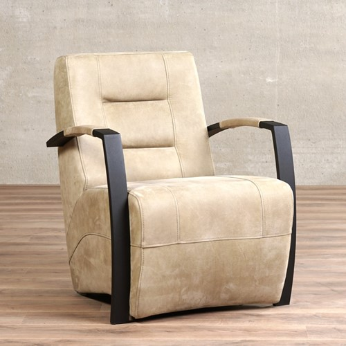 Leren fauteuil Magnificent - Kenia Leer Taupe - Frame zwart