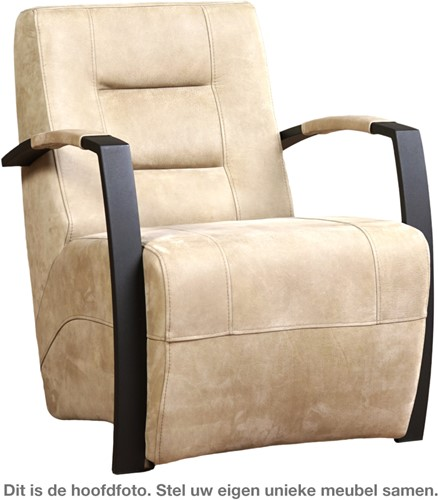 Leren fauteuil Magnificent - Toledo Leer Natur - Frame grijs