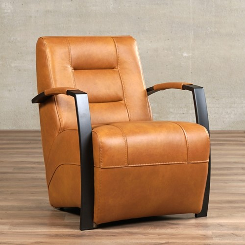 Leren fauteuil Magnificent - Granada leer Sahara - Frame antraciet