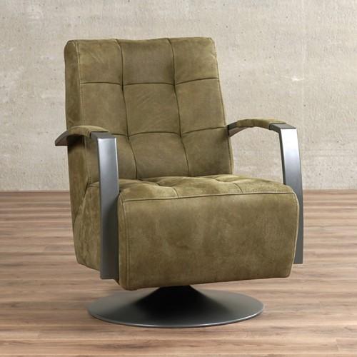 Leren draaifauteuil Mind - Kenia Leer Olive - Frame grijs - Schotelvoet grijs