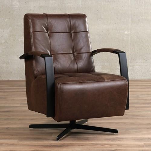Leren draaifauteuil Mind - Vintage Leer Brown - Frame zwart - Stervoet zwart