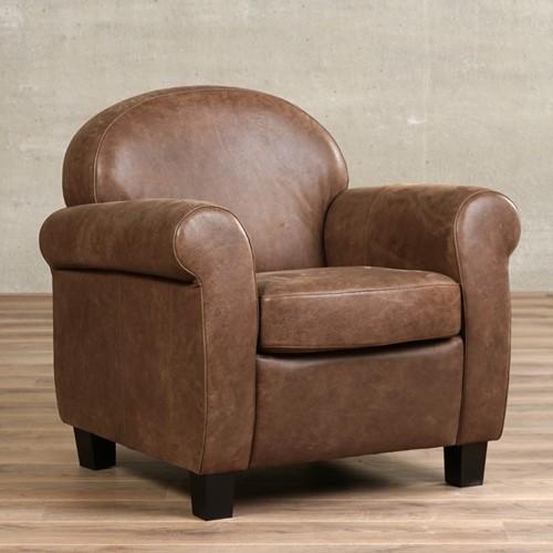 Leren fauteuil Roommate - Vintage Leer Brown - Hout - Bruin