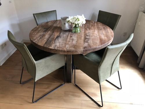 Set van 4 leren eetkamerstoelen - met designpoot - groen leer