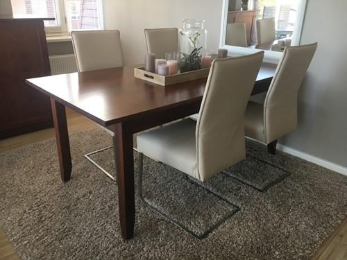 Set van 4 leren eetkamerstoelen - met sledepoot - crème kleurig leer
