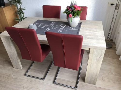 Set van 4 leren eetkamerstoelen - met sledepoot - rood leer