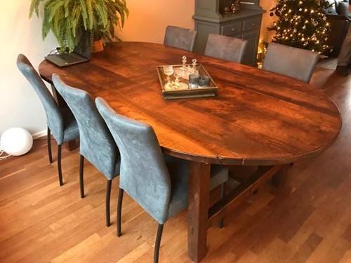 Set van 6 leren eetkamerstoelen - blauw leer