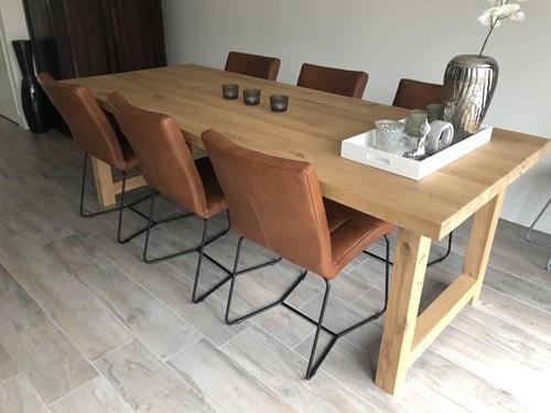 Set van 6 leren eetkamerstoelen met designpoot - bruin leer