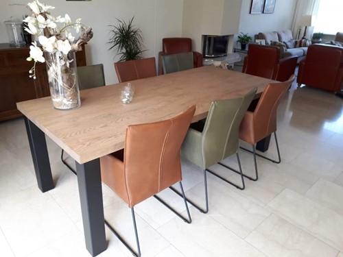 Set van 6 leren eetkamerstoelen - met designpoot - diverse kleuren