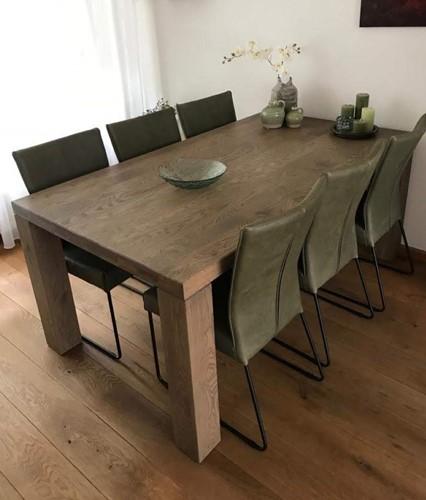 Set van 6 leren eetkamerstoelen - met designpoot - groen leer