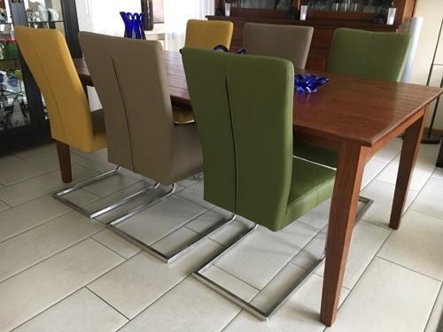 Set van 6 leren eetkamerstoelen - met sledepoot - diverse kleuren