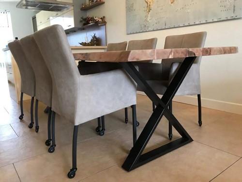 Set van 6 leren eetkamerstoelen met wieltjes en armleuning - bruin leer