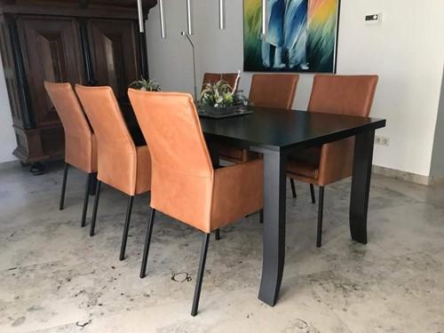 Set van 6 leren eetkamerstoelen - oranje leer
