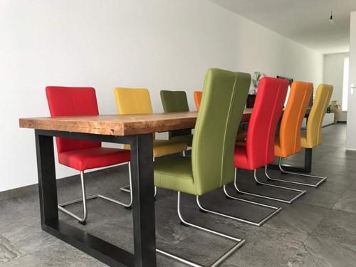Set van 8 leren eetkamerstoelen - met sledepoot - diverse kleuren leer
