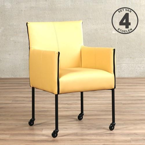 Leren eetkamerstoel More - met wieltjes - set van 4 stoelen - Toledo Leer Dessert - Kleur poot, zwart - Skate wiel zwart