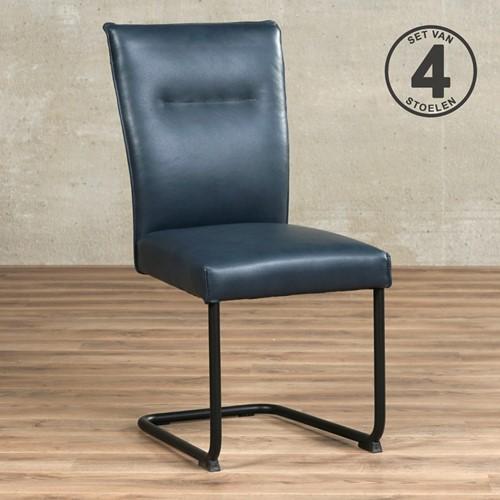 Leren eetkamerstoel Retro - set van 4 stoelen - Granada leer Blue - Kleur poot, zwart
