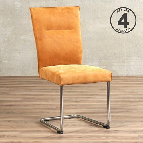 Leren eetkamerstoel Retro - set van 4 stoelen - Kenia Leer Cognac - Kleur poot, RVS