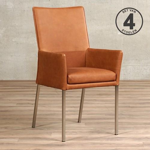 Leren eetkamerstoel Royal - met armleuning - set van 4 stoelen - Rancho Leer Cognac - Kleur poot, RVS