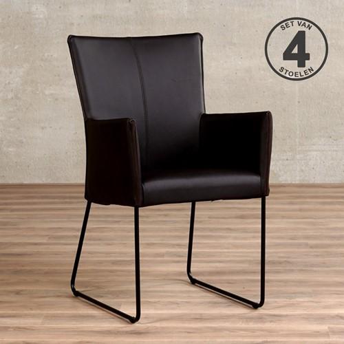 Leren eetkamerstoel Mate - met armleuning - set van 4 stoelen - Rancho Leer Moro