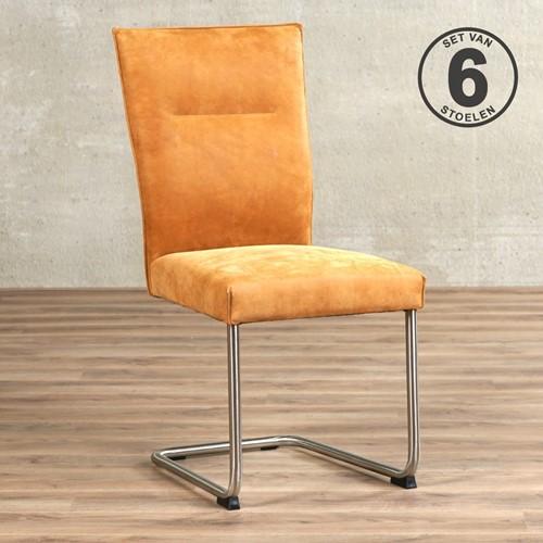 Leren eetkamerstoel Retro - set van 6 stoelen - Kenia Leer Cognac - Kleur poot, RVS