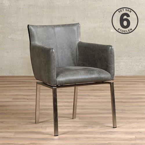 Leren eetkamerstoel Zen - set van 6 stoelen - Vintage Leer Grey - Kleur poot, RVS designpoot